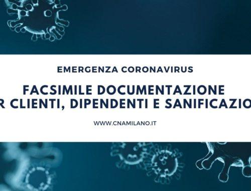 Facsimile documentazione per clienti, dipendenti e sanificazione