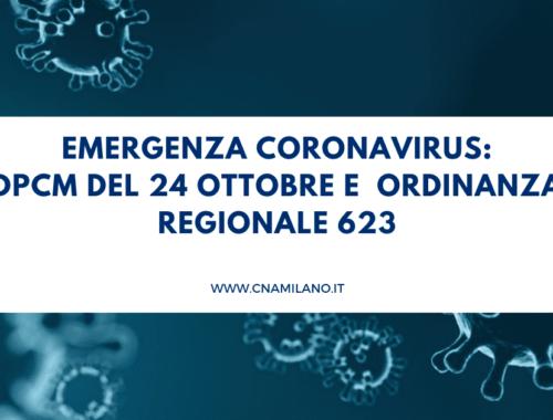 DPCM 24 ottobre e ordinanza regionale 623